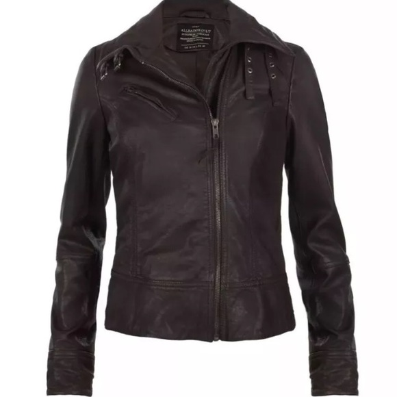 best loved best site search for best All saints Leather Belvedere jacket size 2